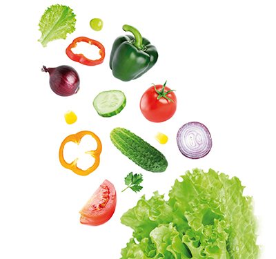 36586984 - falling fresh vegetables on white background