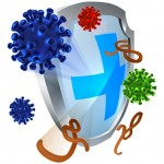 Antibacterial or anti virus shield protection concept of a shield with bacteria or virus cells bouncing off it